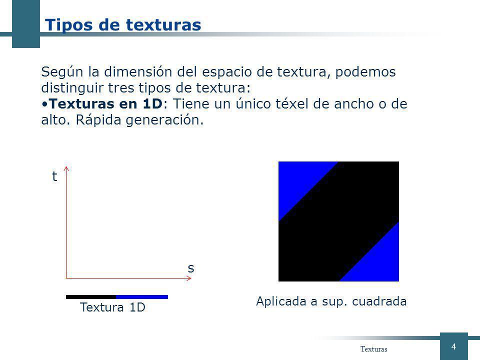 Tipos de texturas Según la dimensión del espacio de textura, podemos