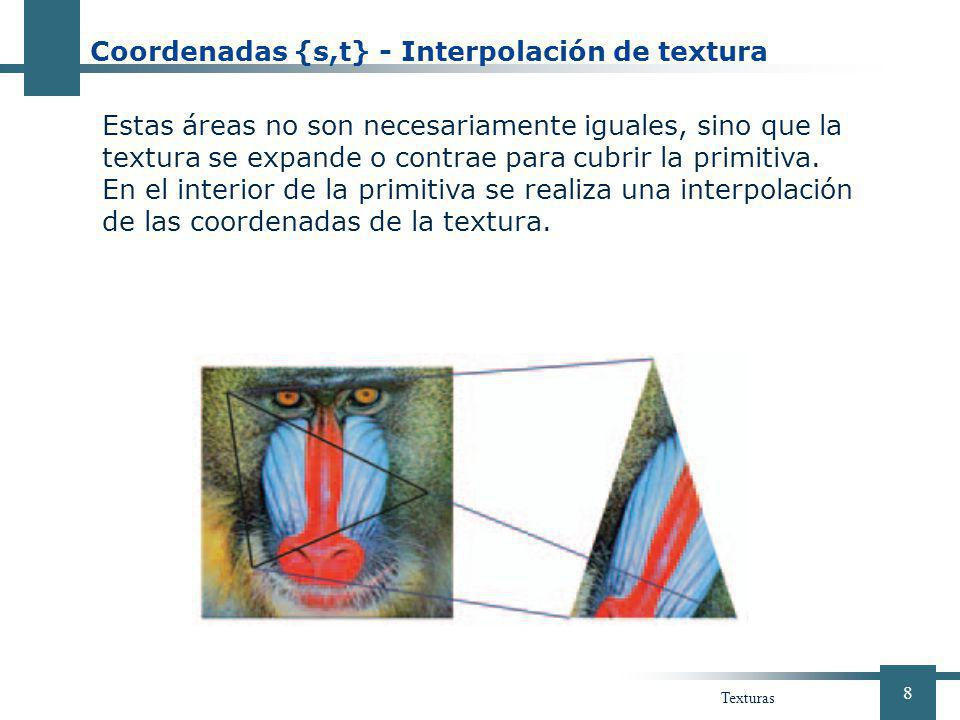 Coordenadas {s,t} - Interpolación de textura