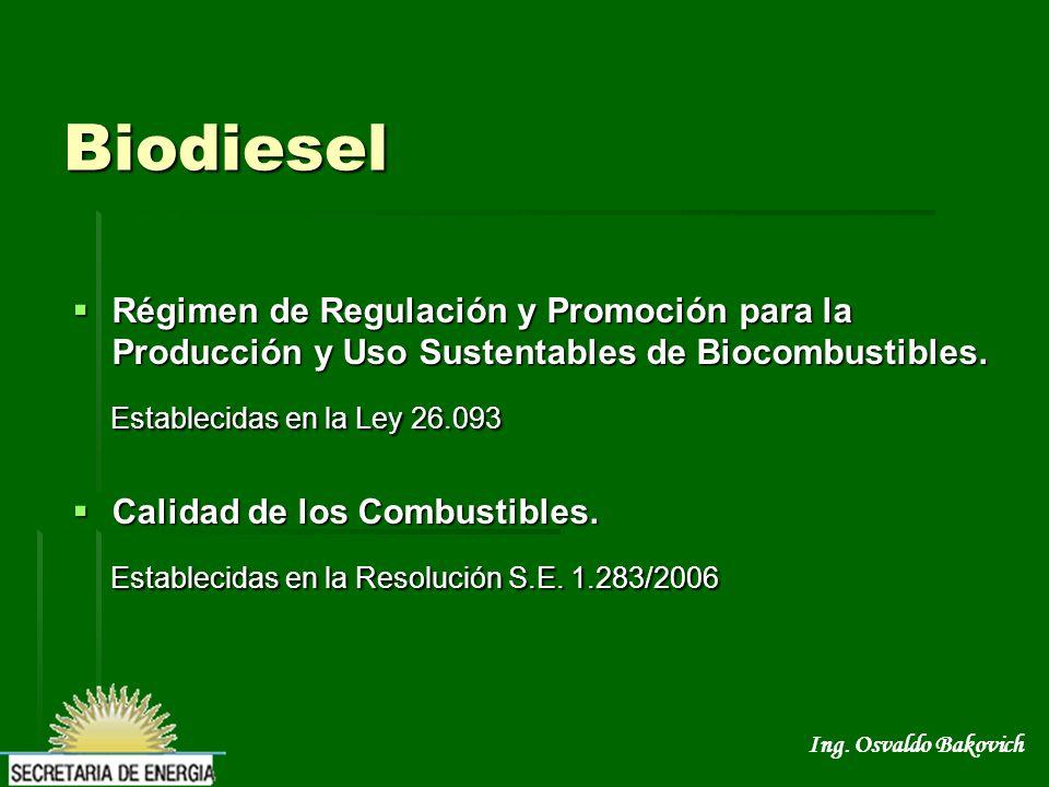 Biodiesel Establecidas en la Ley 26.093
