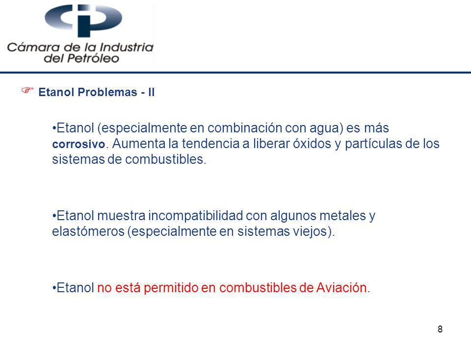 Etanol no está permitido en combustibles de Aviación.