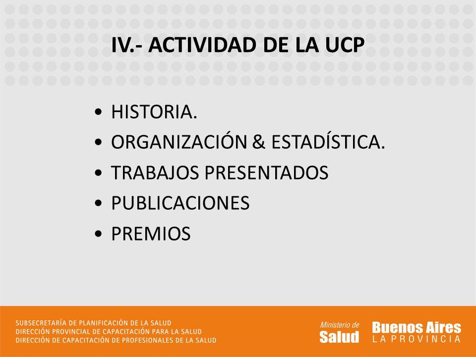 IV.- ACTIVIDAD DE LA UCP HISTORIA. ORGANIZACIÓN & ESTADÍSTICA.