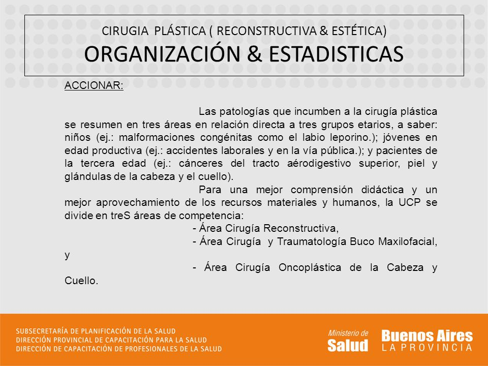 CIRUGIA PLÁSTICA ( RECONSTRUCTIVA & ESTÉTICA) ORGANIZACIÓN & ESTADISTICAS