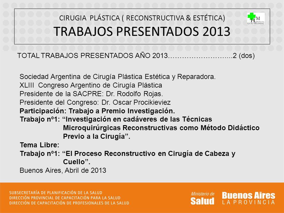 CIRUGIA PLÁSTICA ( RECONSTRUCTIVA & ESTÉTICA) TRABAJOS PRESENTADOS 2013