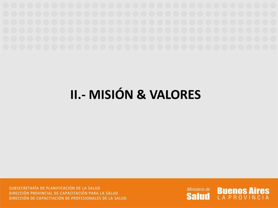 II.- MISIÓN & VALORES