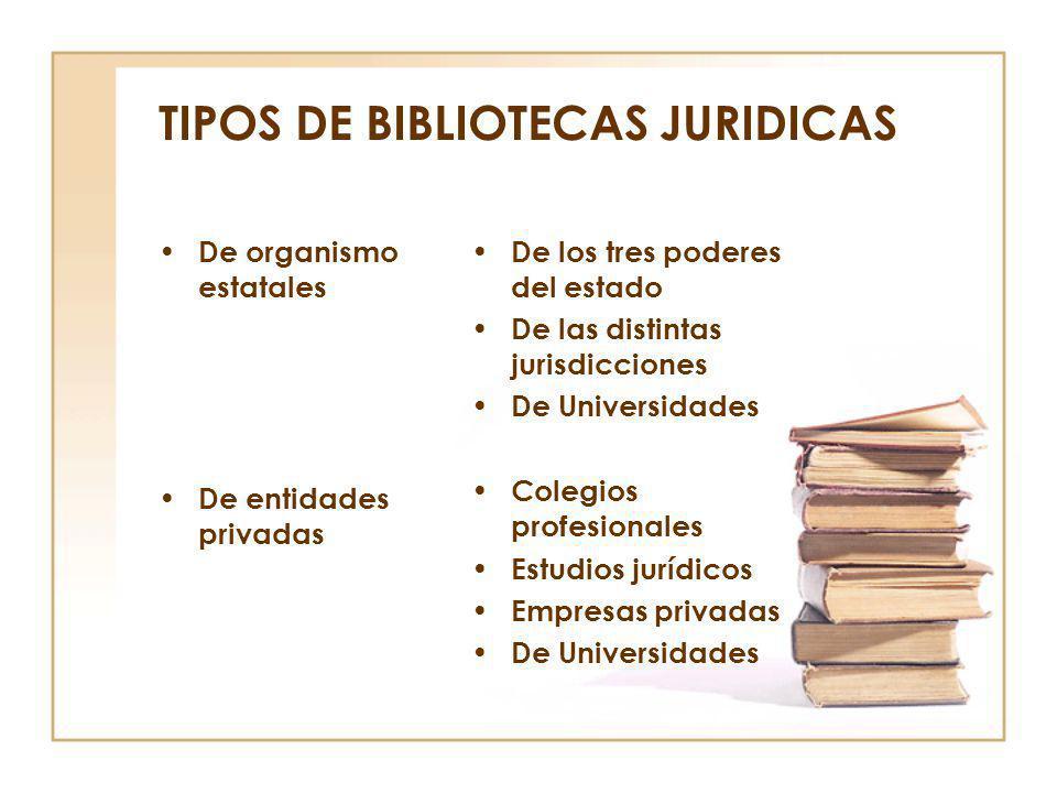 TIPOS DE BIBLIOTECAS JURIDICAS