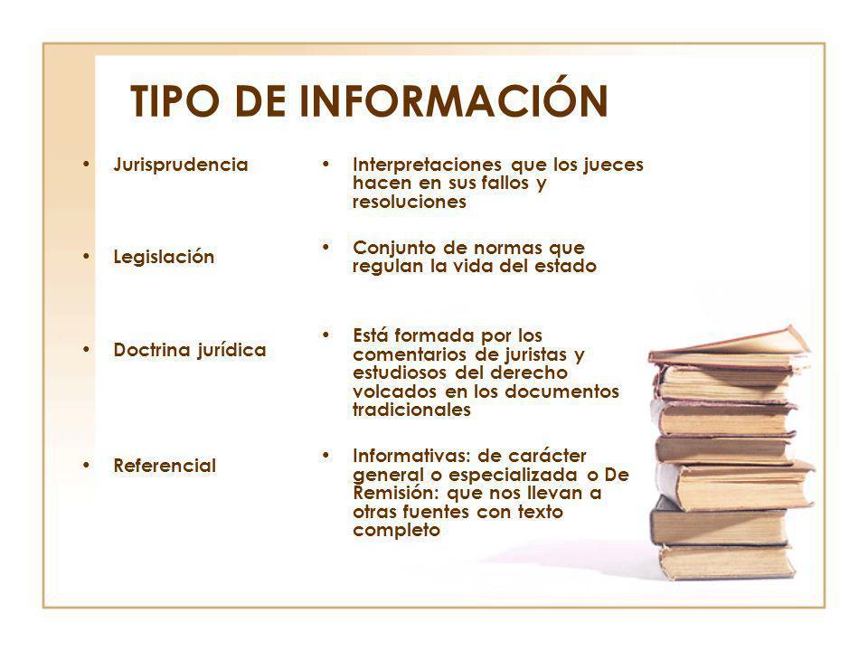 TIPO DE INFORMACIÓN Jurisprudencia Legislación Doctrina jurídica