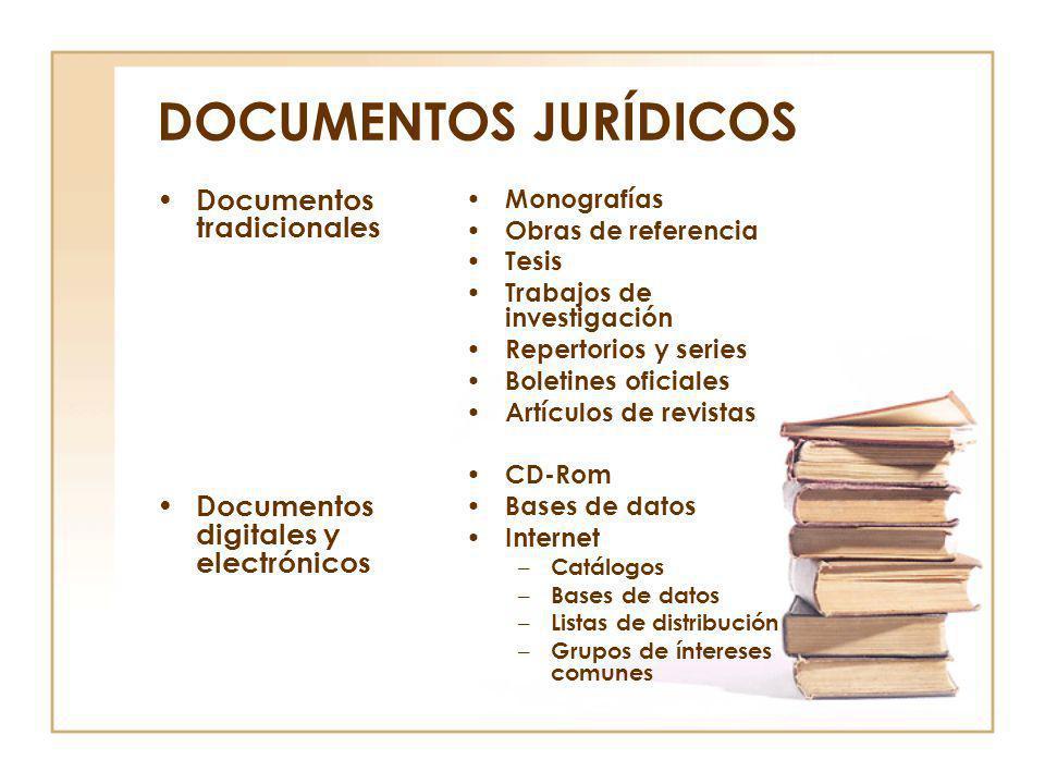 DOCUMENTOS JURÍDICOS Documentos tradicionales