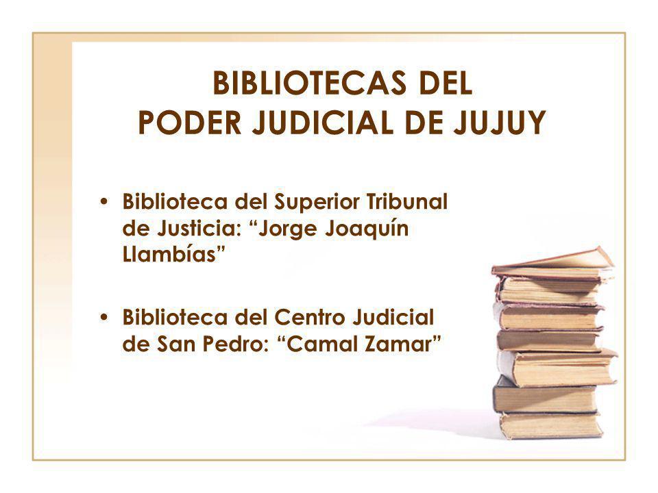 BIBLIOTECAS DEL PODER JUDICIAL DE JUJUY