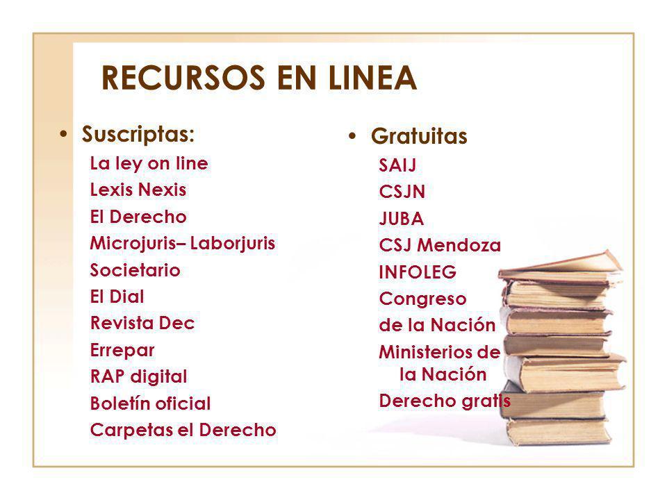 RECURSOS EN LINEA Suscriptas: Gratuitas La ley on line SAIJ