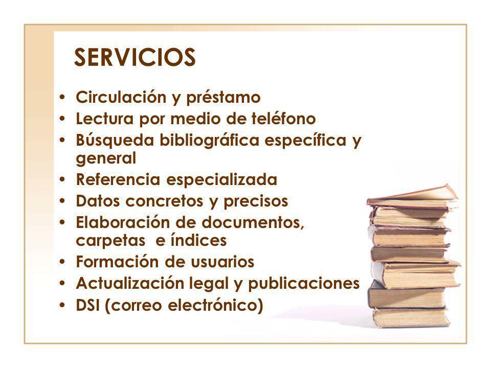 SERVICIOS Circulación y préstamo Lectura por medio de teléfono