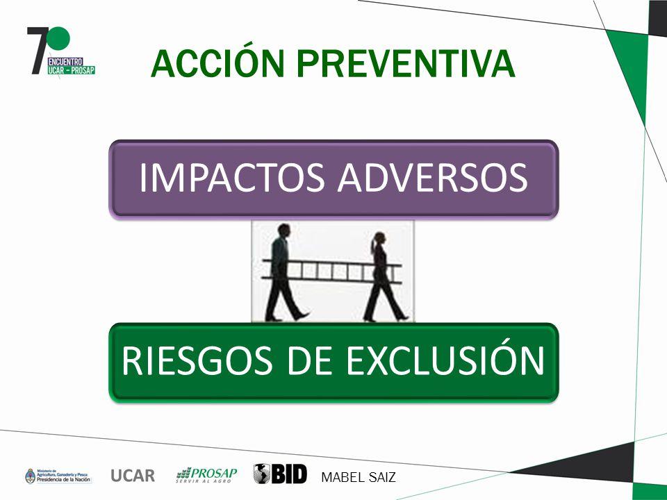 ACCIÓN PREVENTIVA IMPACTOS ADVERSOS RIESGOS DE EXCLUSIÓN