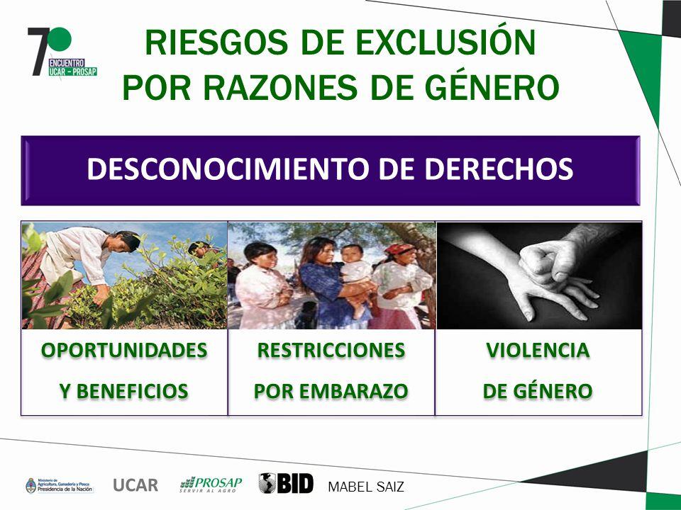 RIESGOS DE EXCLUSIÓN POR RAZONES DE GÉNERO