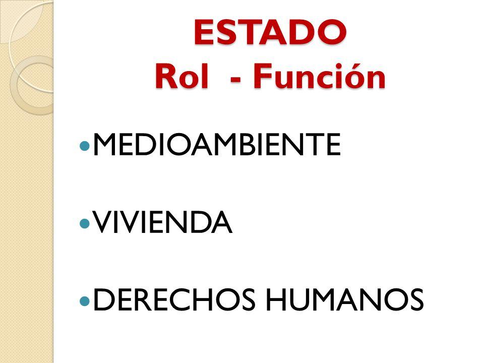ESTADO Rol - Función MEDIOAMBIENTE VIVIENDA DERECHOS HUMANOS