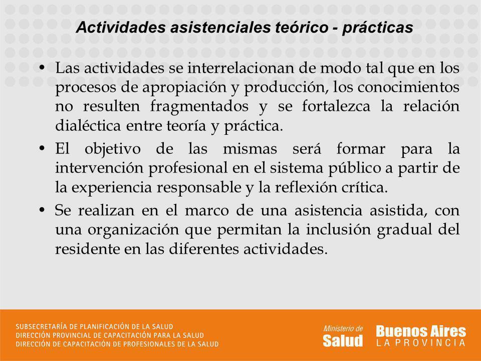 Actividades asistenciales teórico - prácticas