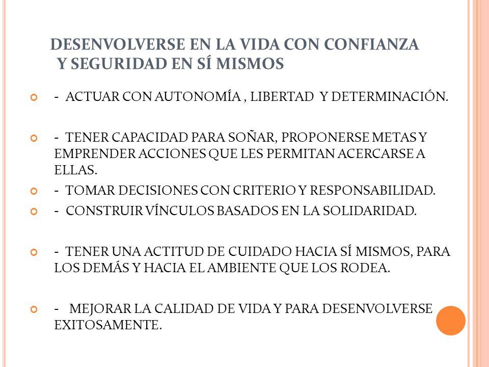 DESENVOLVERSE EN LA VIDA CON CONFIANZA Y SEGURIDAD EN SÍ MISMOS