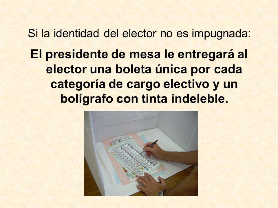 Si la identidad del elector no es impugnada: