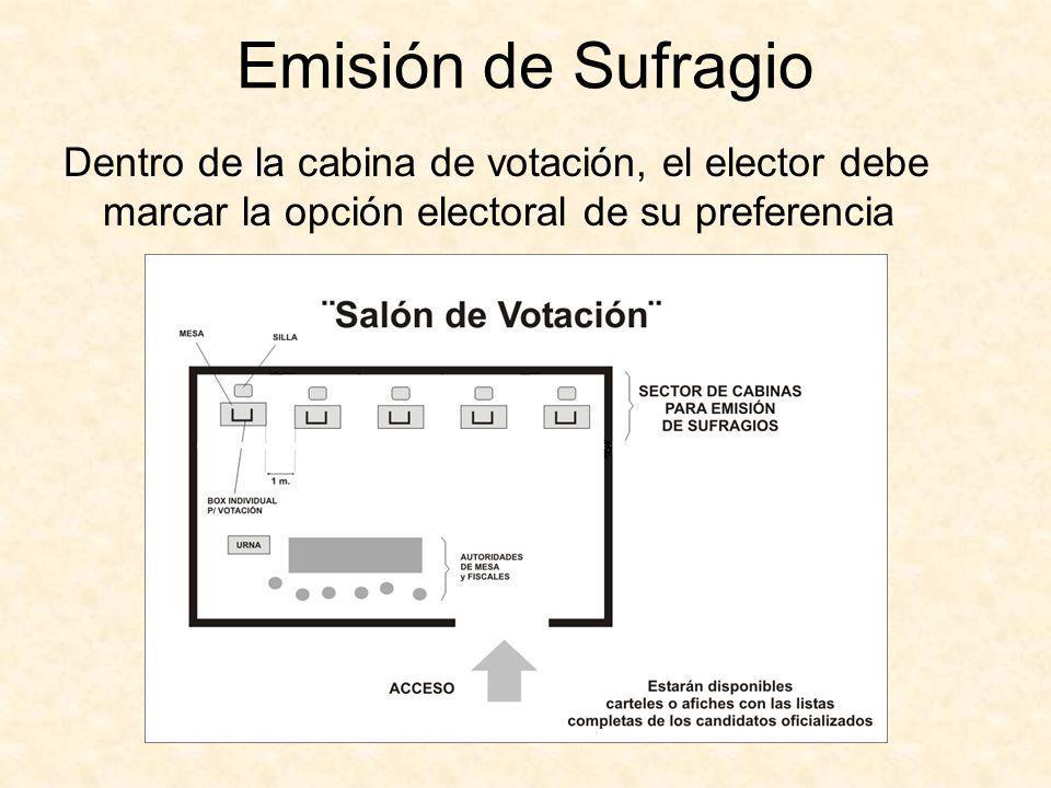 Emisión de Sufragio Dentro de la cabina de votación, el elector debe marcar la opción electoral de su preferencia.
