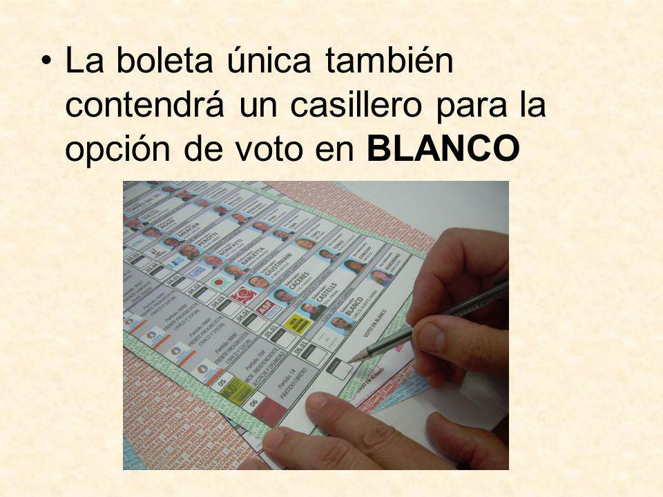 La boleta única también contendrá un casillero para la opción de voto en BLANCO