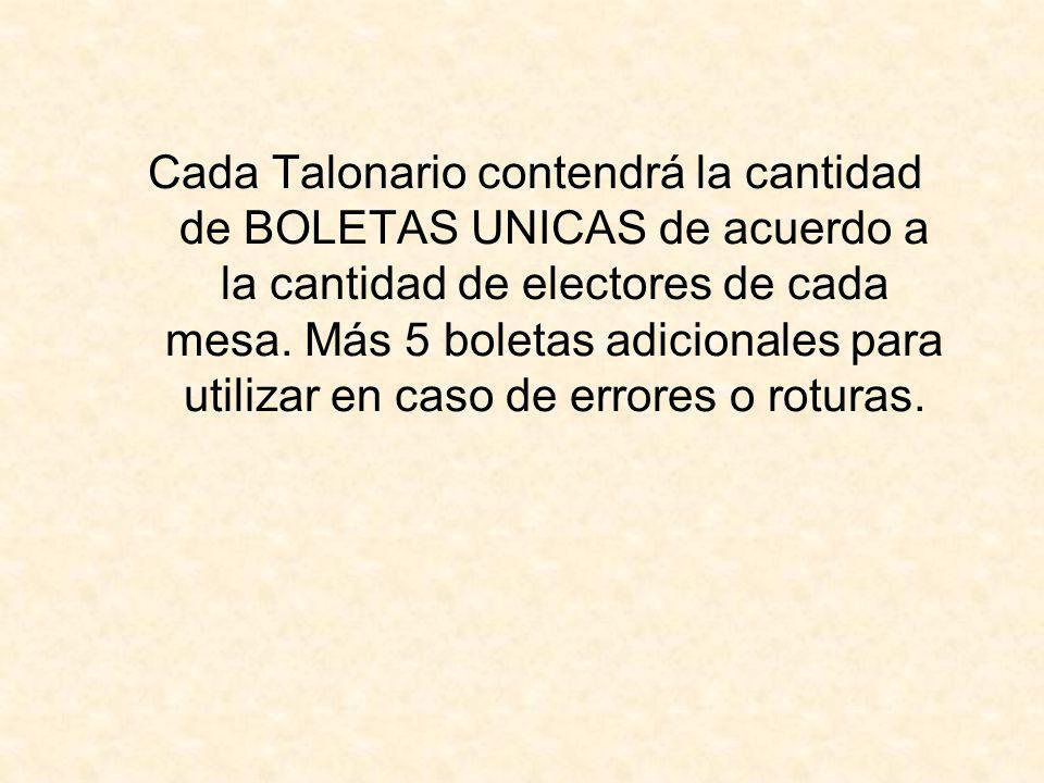 Cada Talonario contendrá la cantidad de BOLETAS UNICAS de acuerdo a la cantidad de electores de cada mesa.