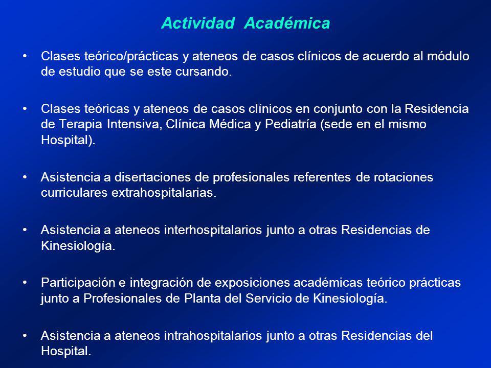 Actividad Académica Clases teórico/prácticas y ateneos de casos clínicos de acuerdo al módulo de estudio que se este cursando.