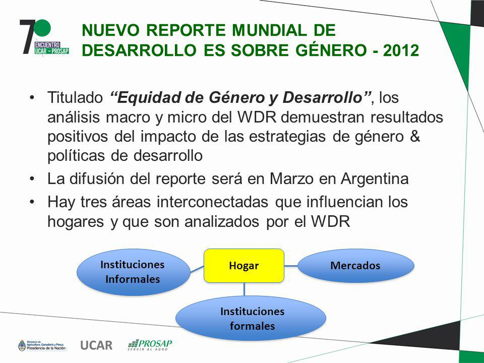 NUEVO REPORTE MUNDIAL DE DESARROLLO ES SOBRE GÉNERO - 2012