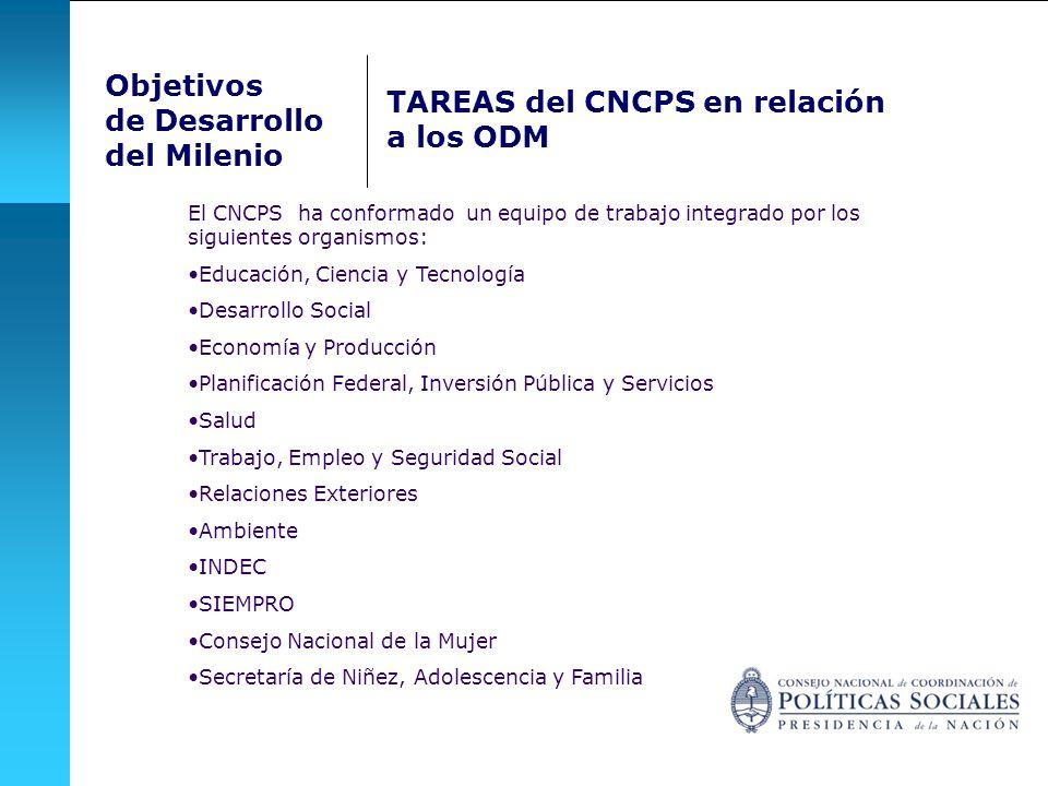 TAREAS del CNCPS en relación a los ODM