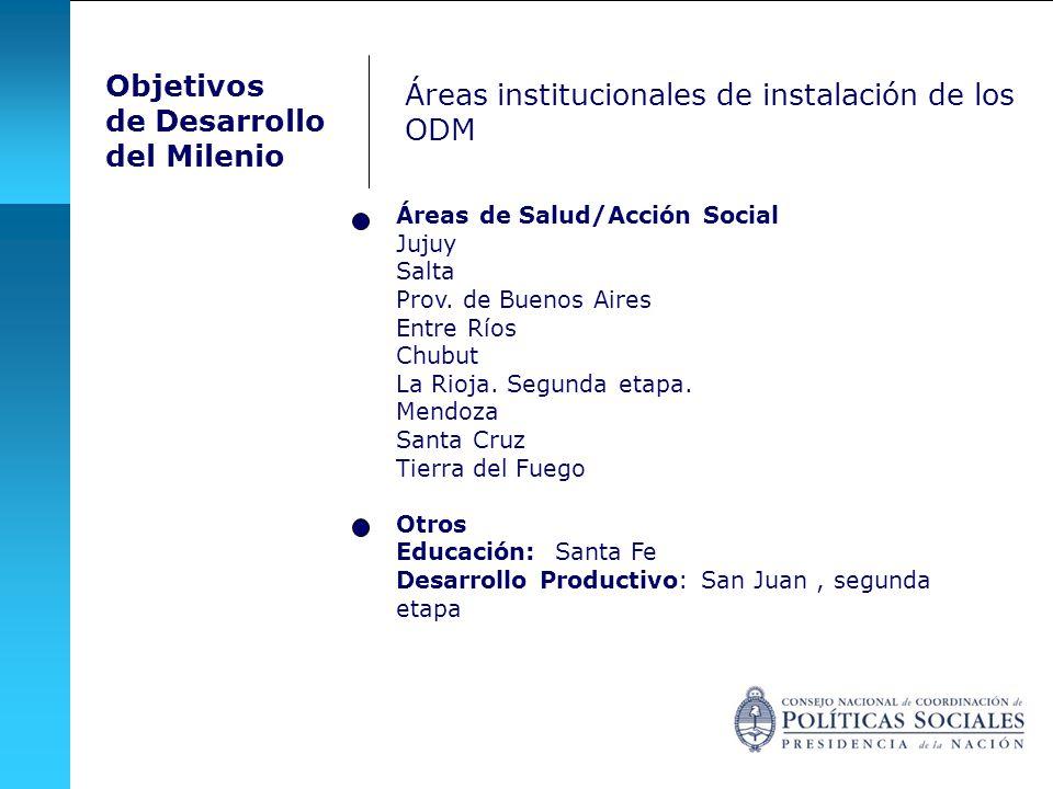 Áreas institucionales de instalación de los ODM