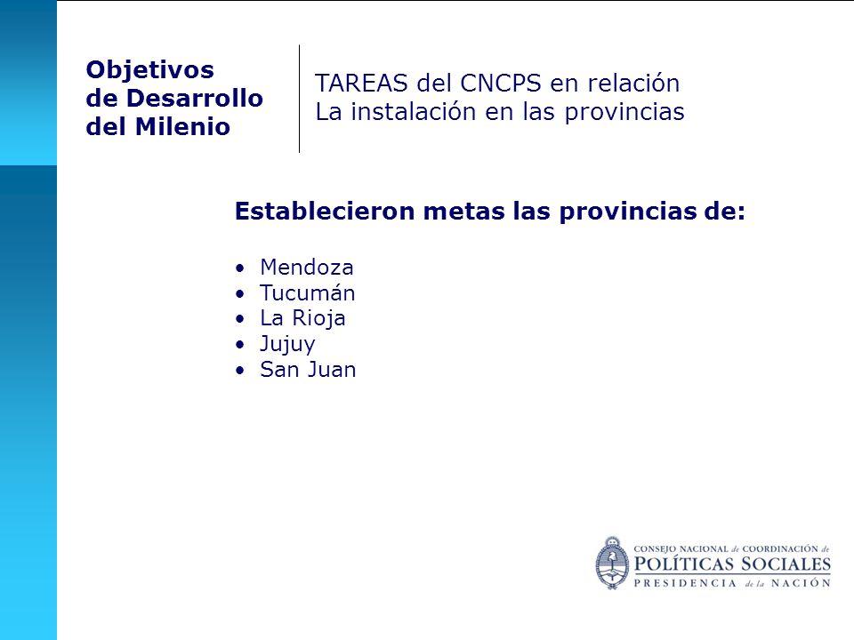 TAREAS del CNCPS en relación La instalación en las provincias