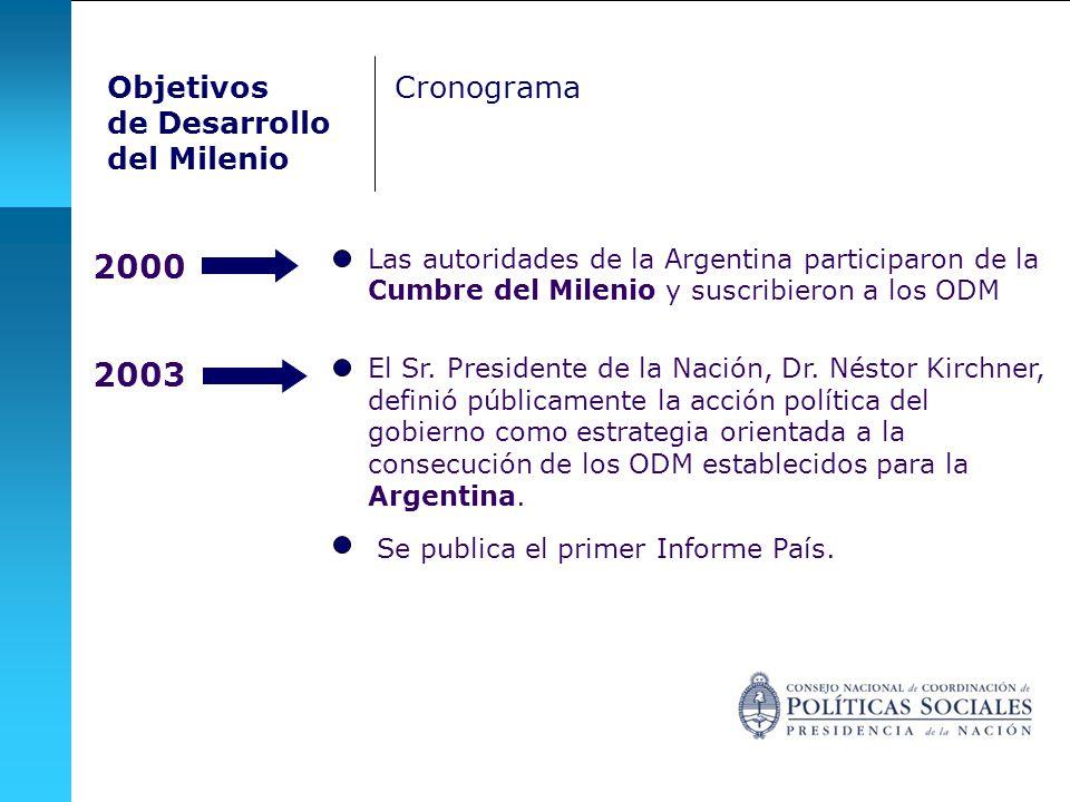 2000 2003 Objetivos de Desarrollo del Milenio Cronograma