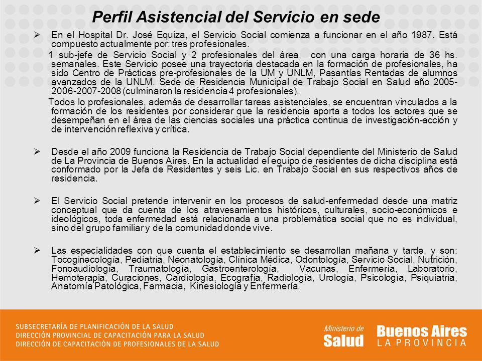 Perfil Asistencial del Servicio en sede