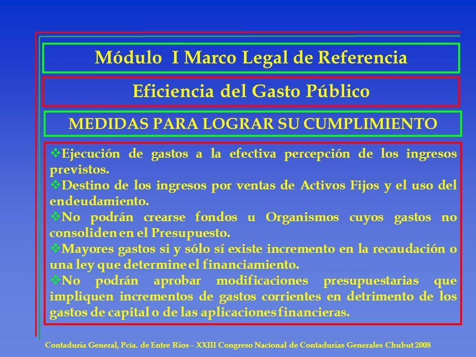 Módulo I Marco Legal de Referencia Eficiencia del Gasto Público