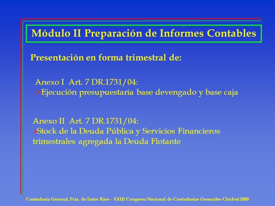 Módulo II Preparación de Informes Contables