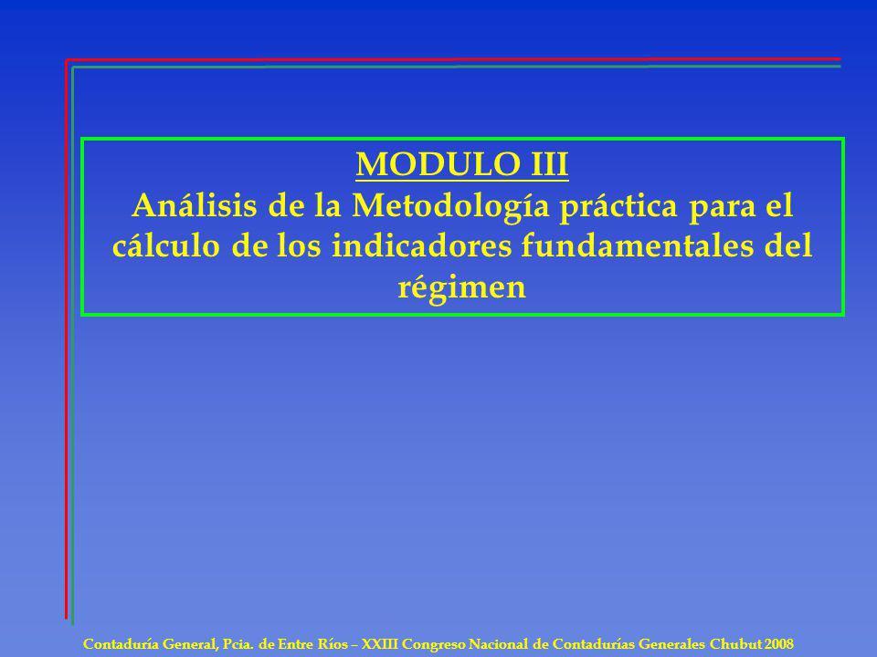 MODULO III Análisis de la Metodología práctica para el cálculo de los indicadores fundamentales del régimen.