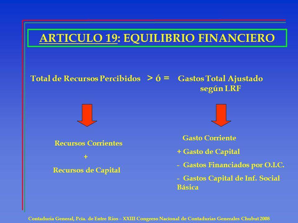 ARTICULO 19: EQUILIBRIO FINANCIERO Gastos Total Ajustado según LRF