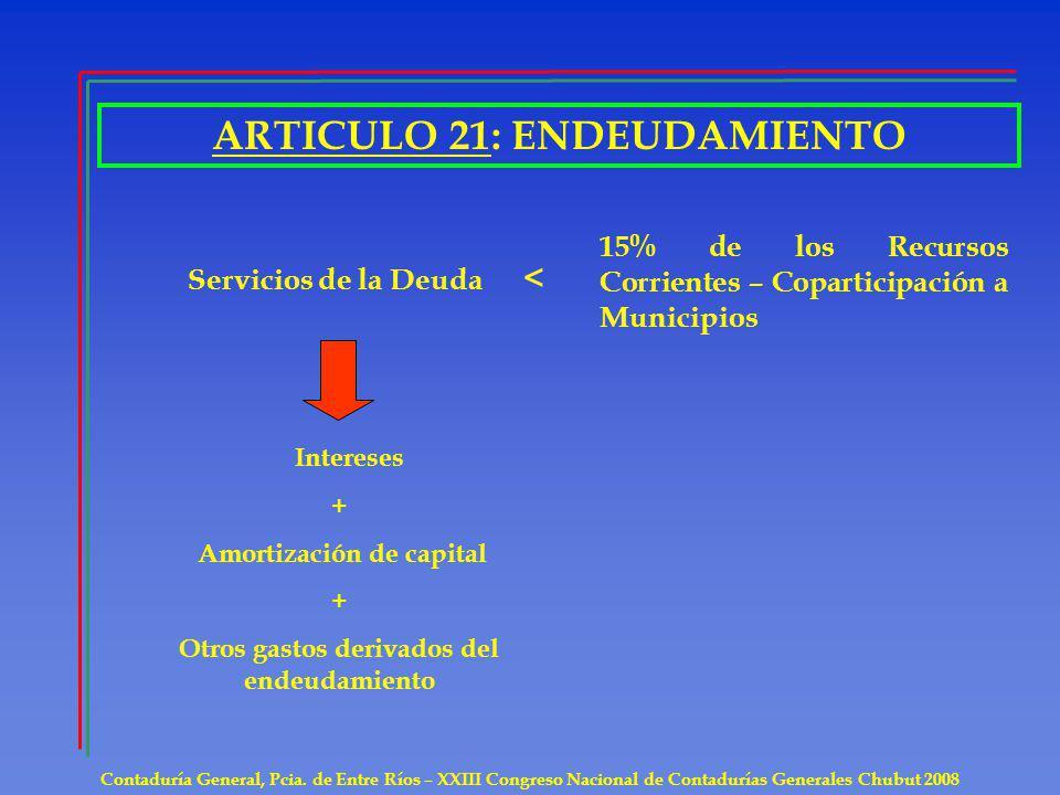 ARTICULO 21: ENDEUDAMIENTO