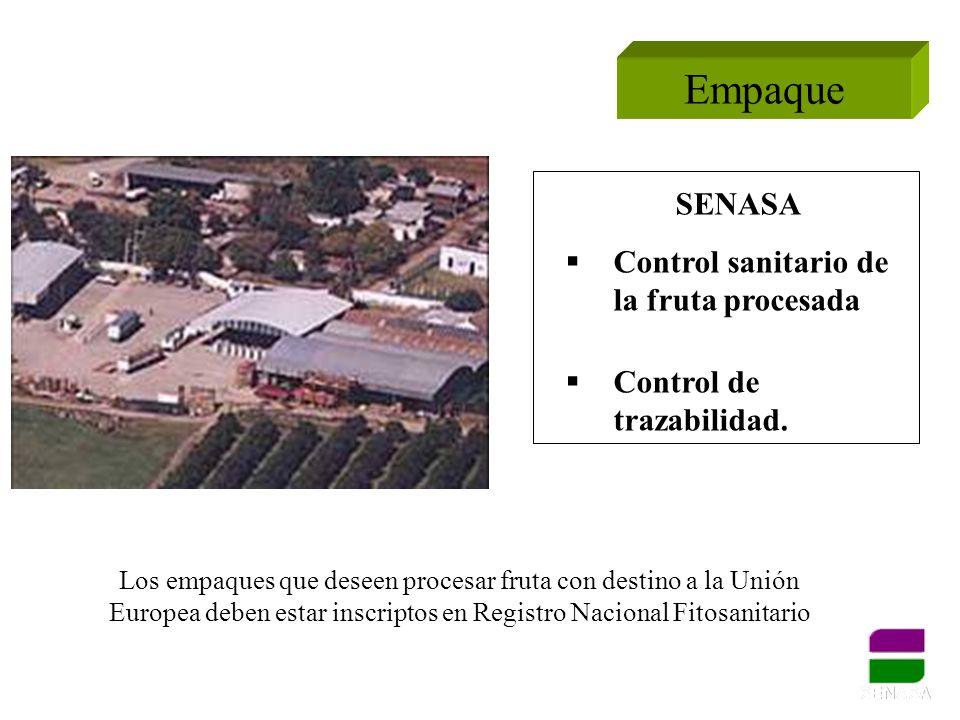 Empaque SENASA Control sanitario de la fruta procesada