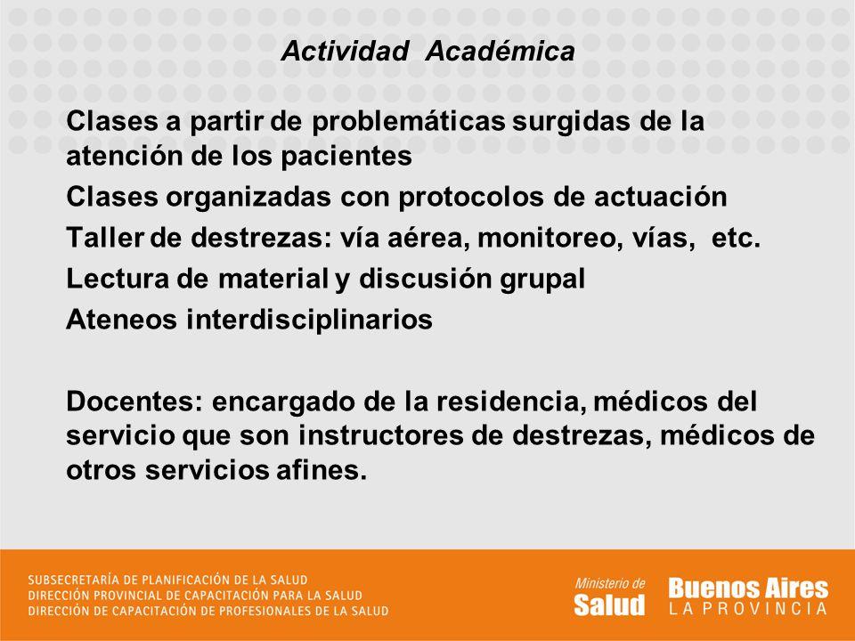 Actividad Académica Clases a partir de problemáticas surgidas de la atención de los pacientes. Clases organizadas con protocolos de actuación.