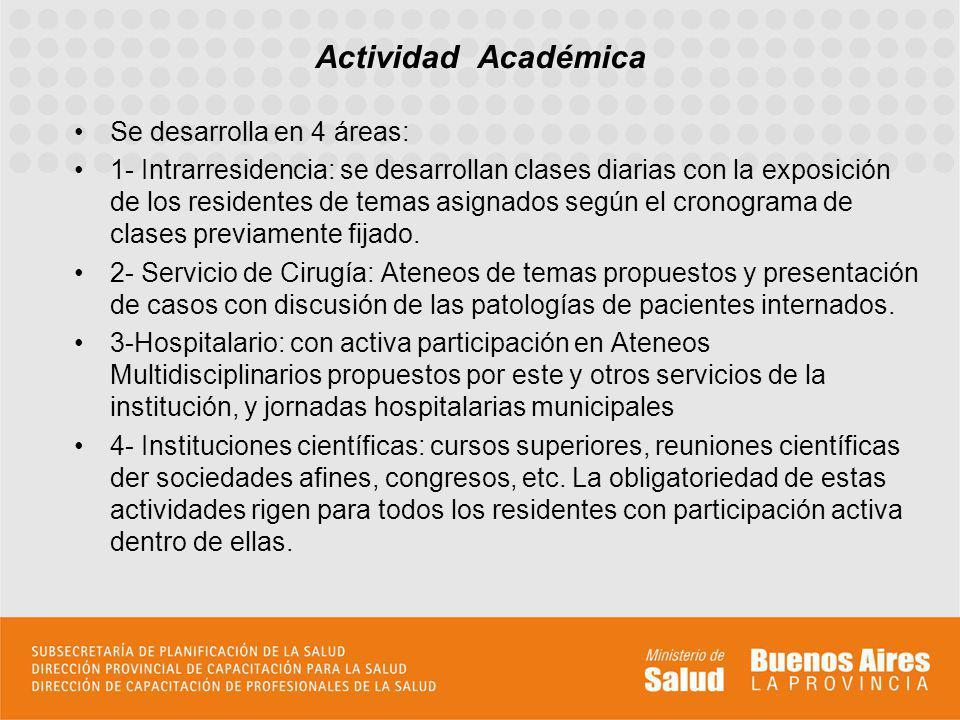 Actividad Académica Se desarrolla en 4 áreas: