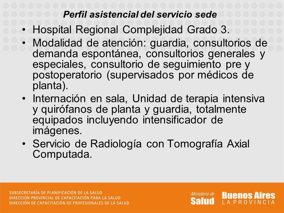 Perfil asistencial del servicio sede