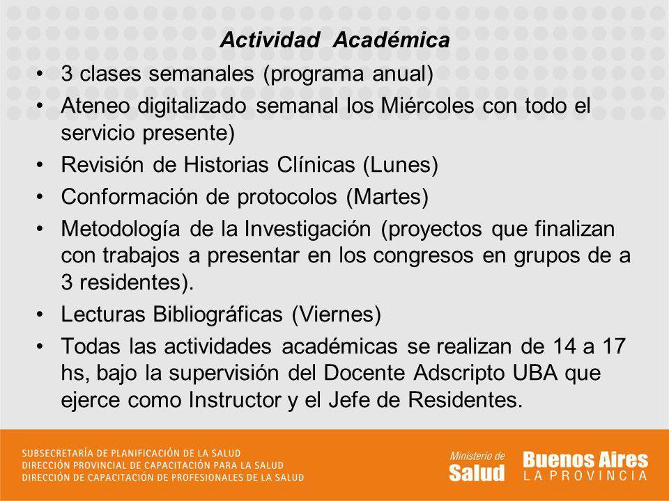 Actividad Académica 3 clases semanales (programa anual) Ateneo digitalizado semanal los Miércoles con todo el servicio presente)