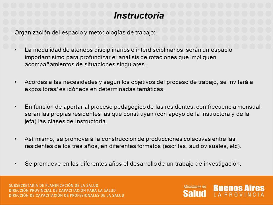 Instructoría Organización del espacio y metodologías de trabajo: