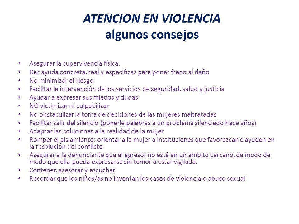 ATENCION EN VIOLENCIA algunos consejos
