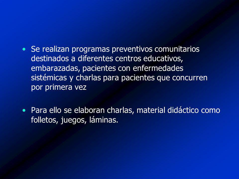Se realizan programas preventivos comunitarios destinados a diferentes centros educativos, embarazadas, pacientes con enfermedades sistémicas y charlas para pacientes que concurren por primera vez