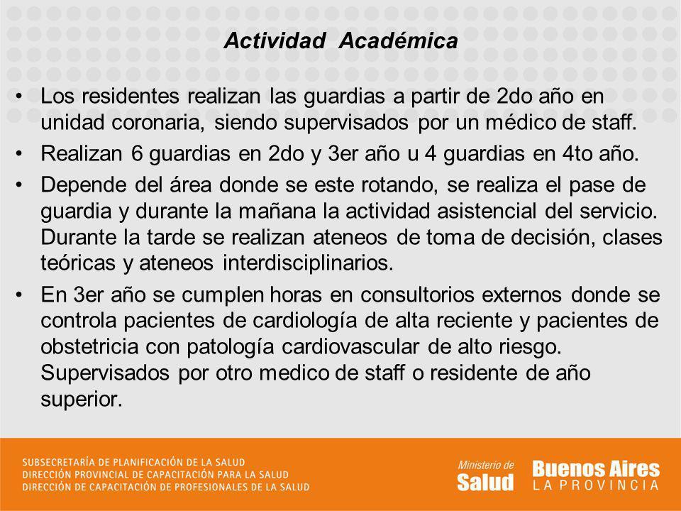 Actividad Académica Los residentes realizan las guardias a partir de 2do año en unidad coronaria, siendo supervisados por un médico de staff.