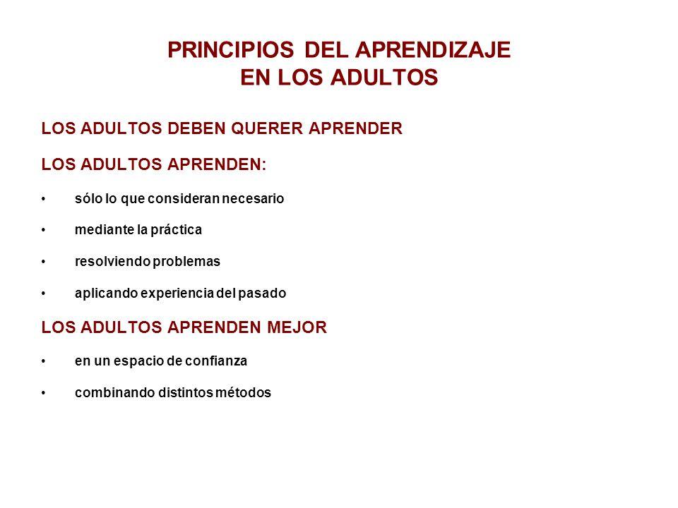 PRINCIPIOS DEL APRENDIZAJE EN LOS ADULTOS