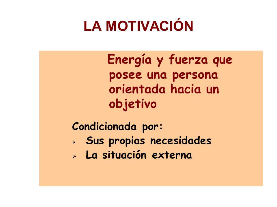 LA MOTIVACIÓN Condicionada por: Sus propias necesidades
