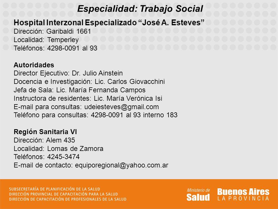 Especialidad: Trabajo Social
