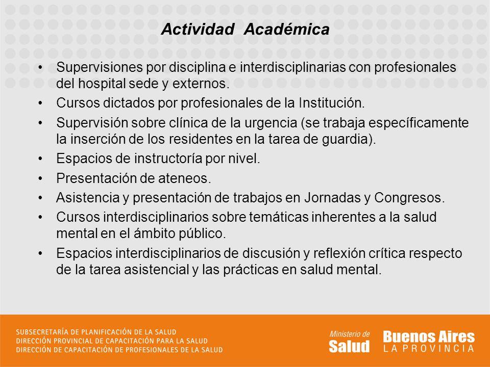 Actividad Académica Supervisiones por disciplina e interdisciplinarias con profesionales del hospital sede y externos.