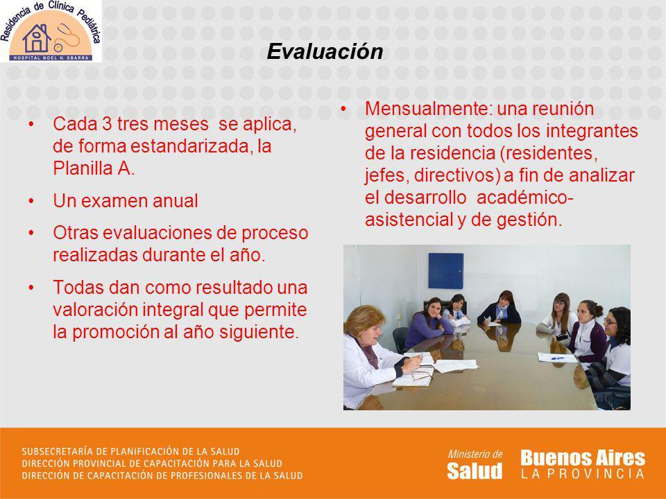 Evaluación Cada 3 tres meses se aplica, de forma estandarizada, la Planilla A. Un examen anual.