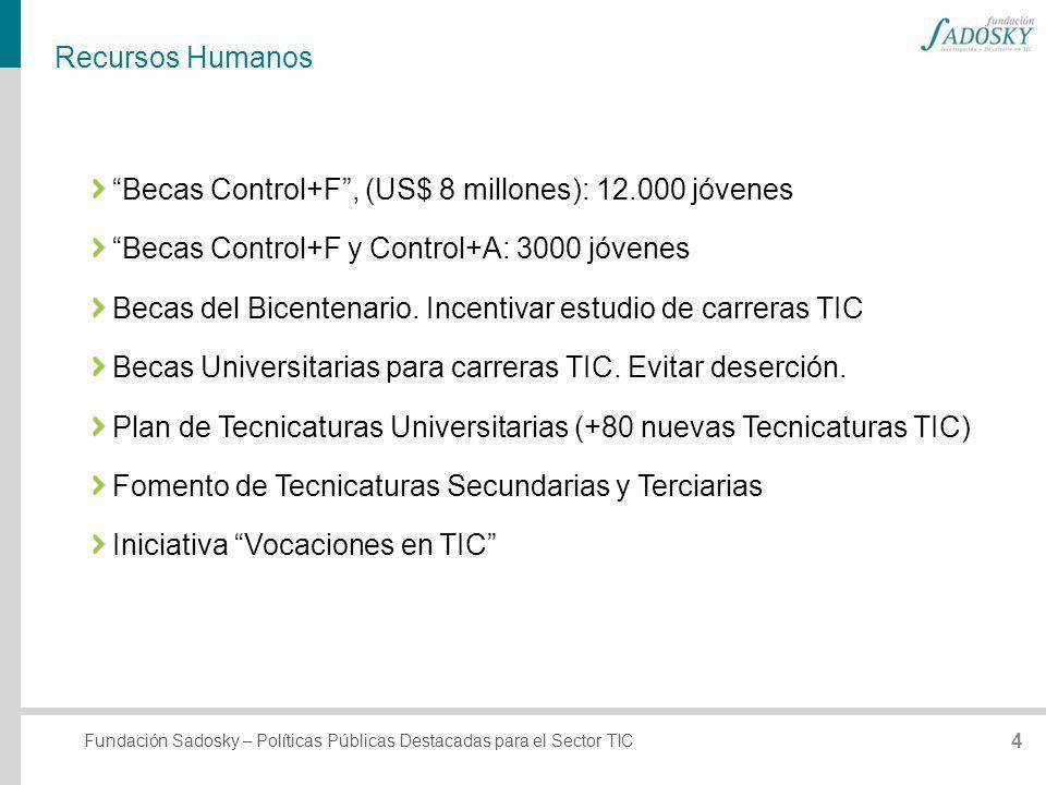 Recursos Humanos Becas Control+F , (US$ 8 millones): 12.000 jóvenes. Becas Control+F y Control+A: 3000 jóvenes.